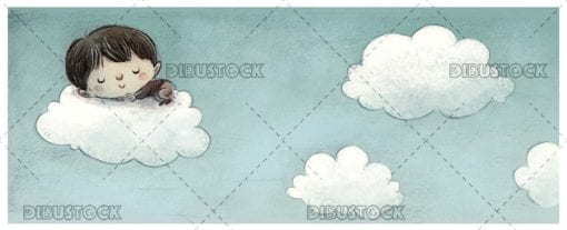 Boy sleeping in the clouds