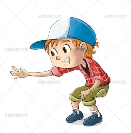 Boy with cap playing