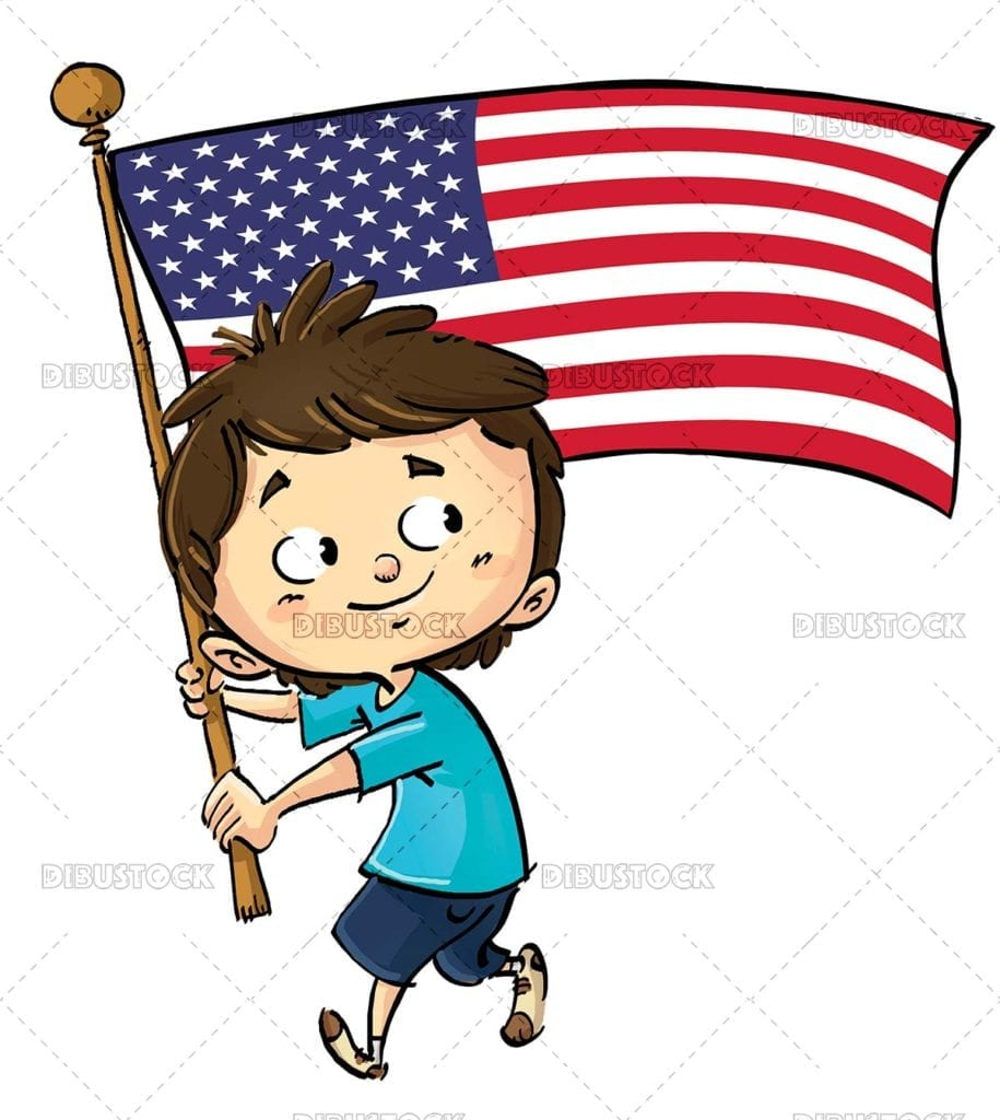 Boy with flagpole and American flag