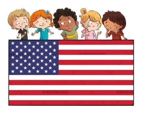 Boys and girls with usa flag