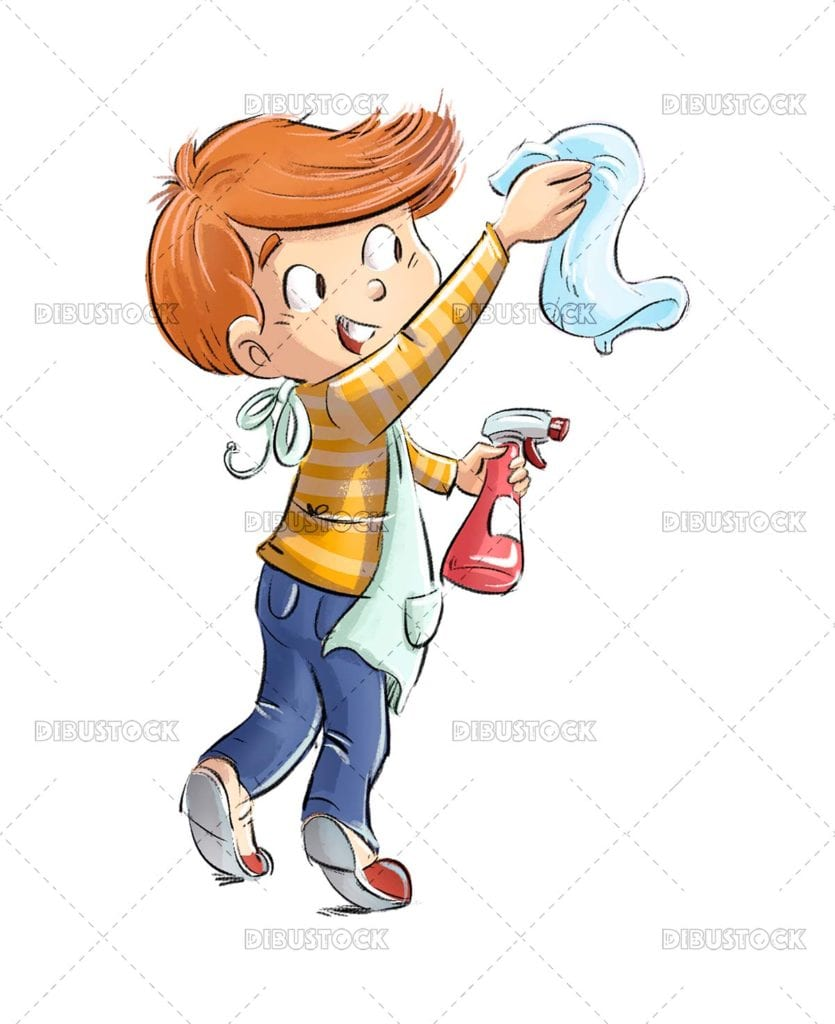Child cleaning with rag