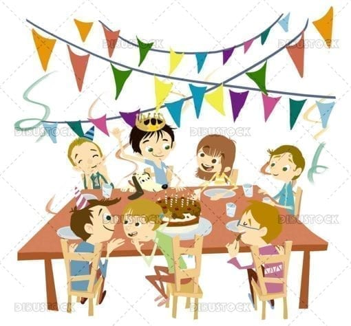 Children celebrating birthday party at table