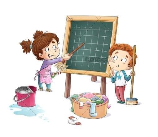 Children planning household chores