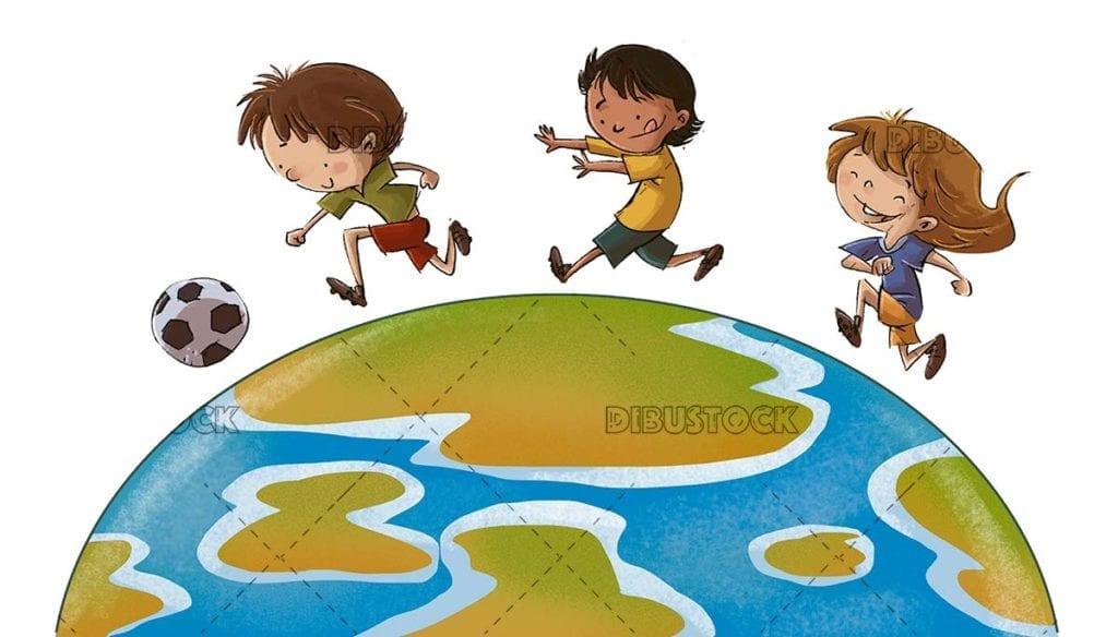 Children playing world football