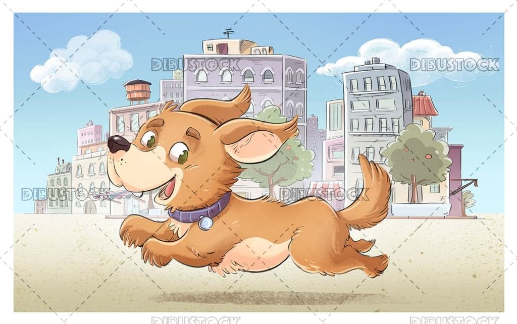 Dog running through the city