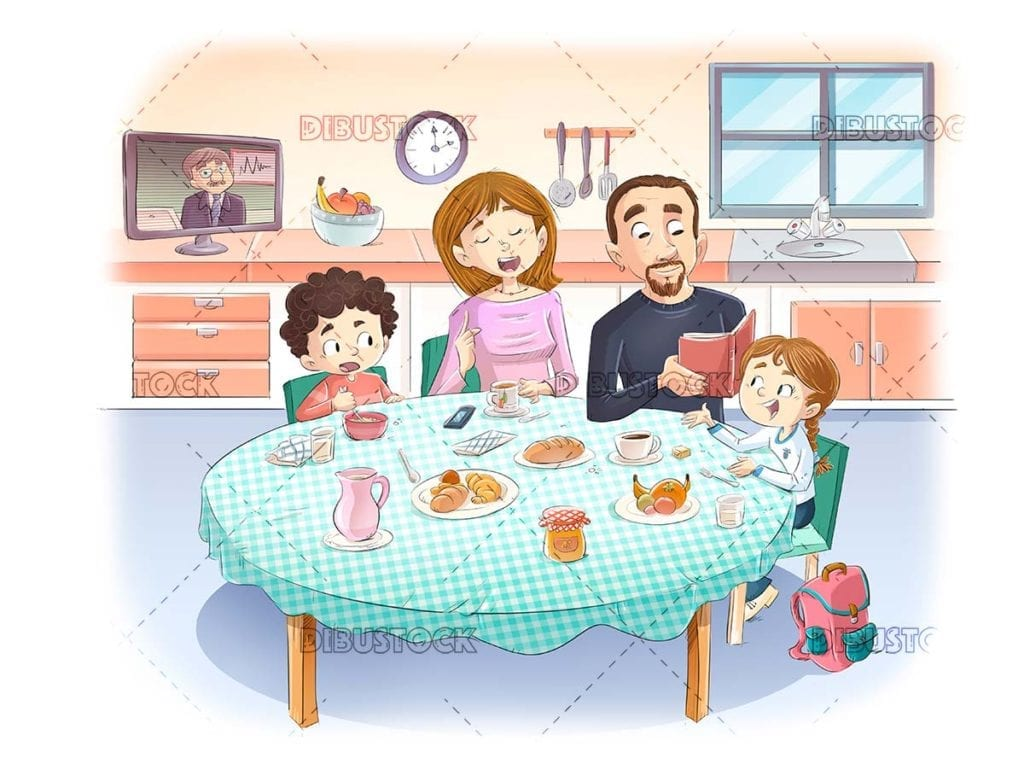 Family talking while eating at table