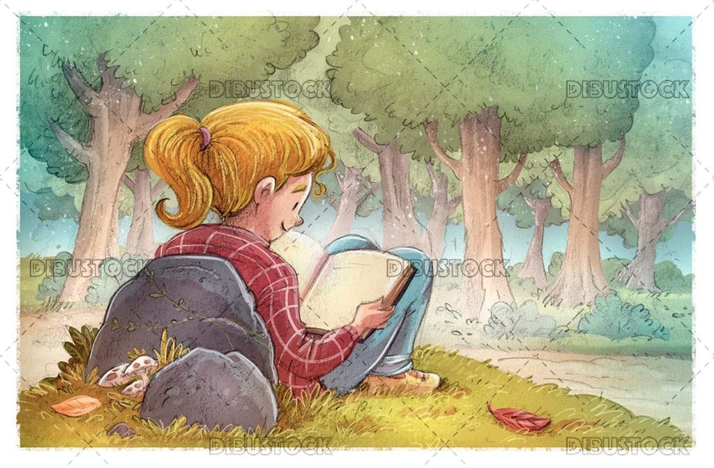 Girl reading in the field