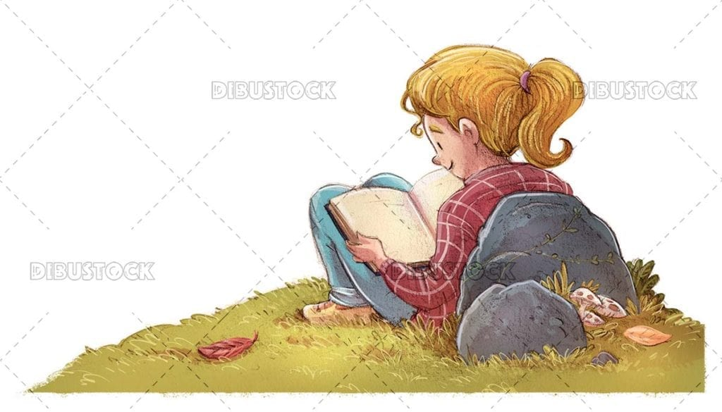 Girl reading in the meadow quietly