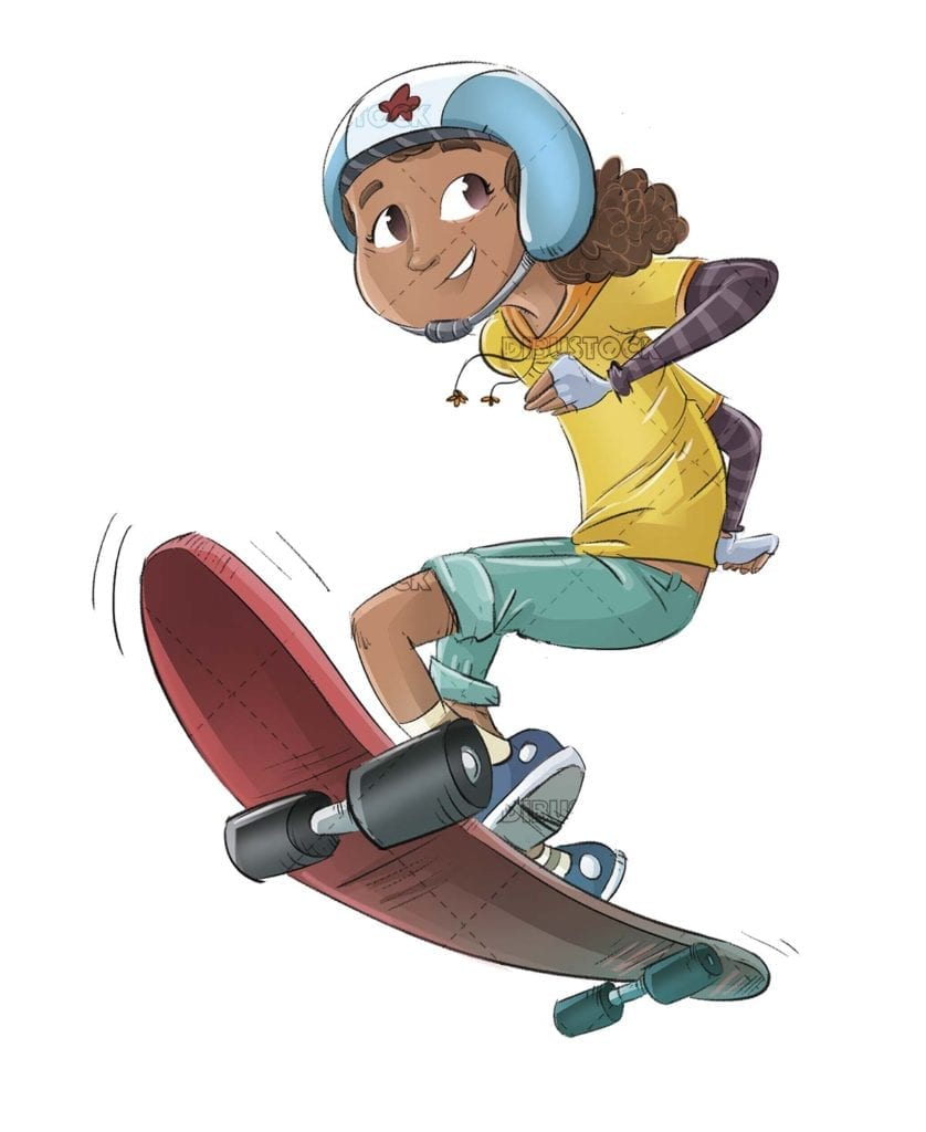 Girl with skateboard and helmet