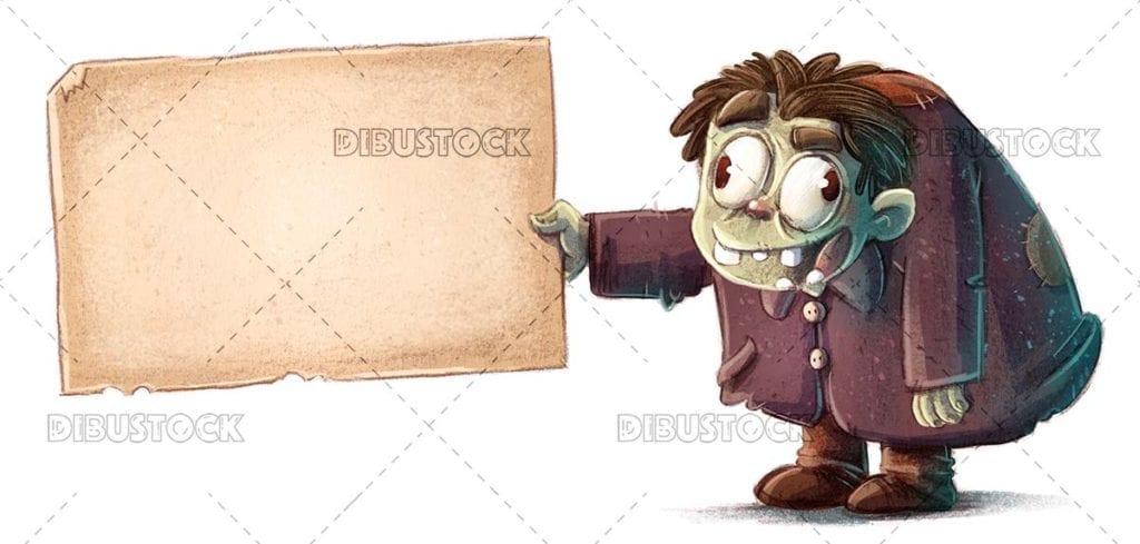Hunchback Monster Holding Sign