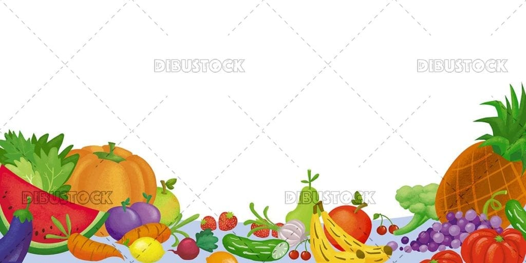 Isolated fruit and vegetable illustration