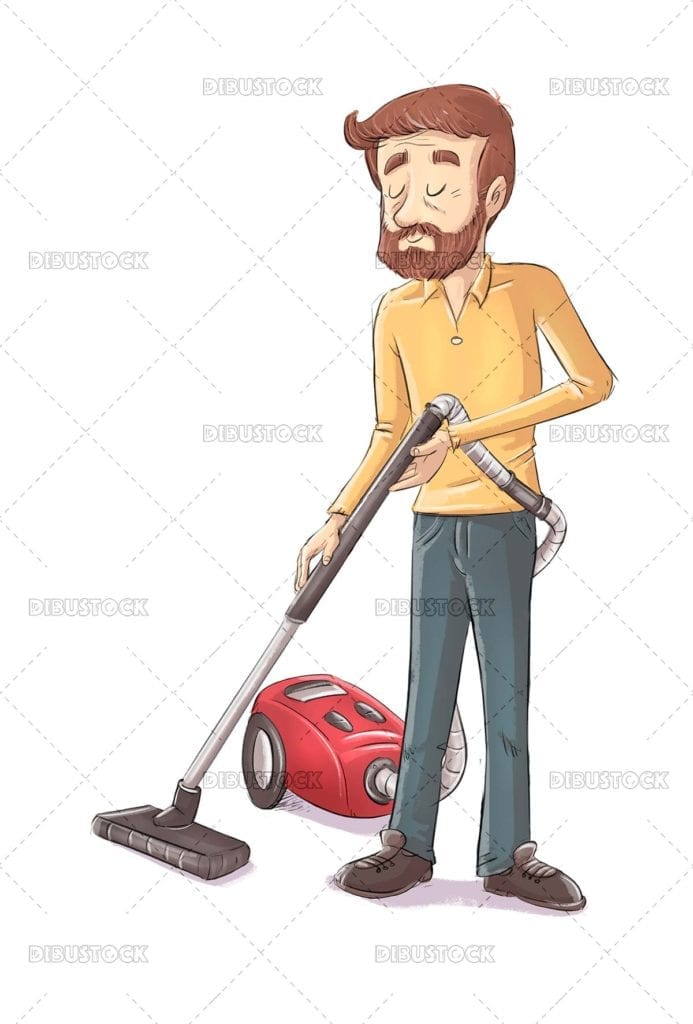 Man cleaning with vacuum cleaner