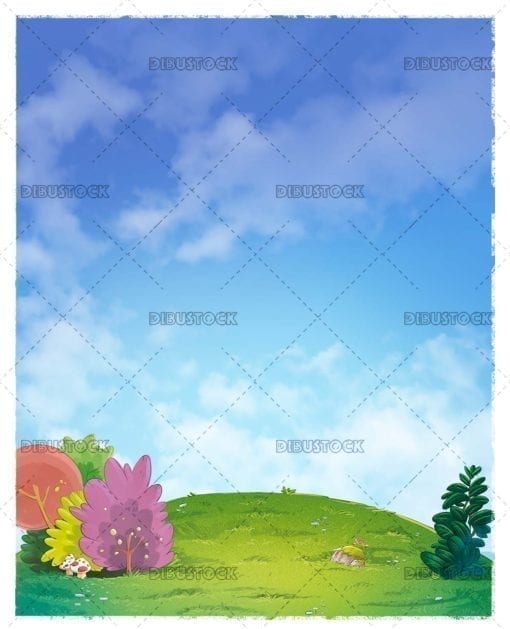 Meadow background with blue sky