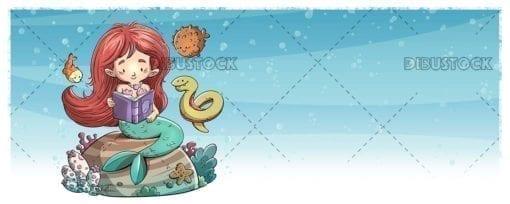 Mermaid reading a book under the sea