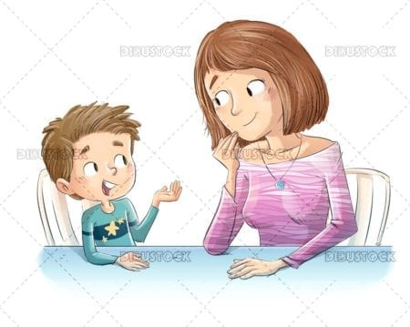 Mother and son talking at table