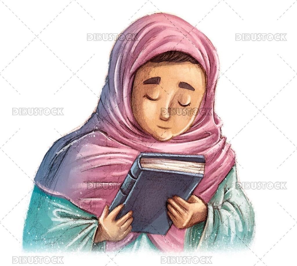 Muslim girl with book in hands