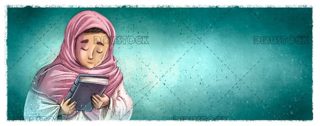 Muslim girl with veil and a book