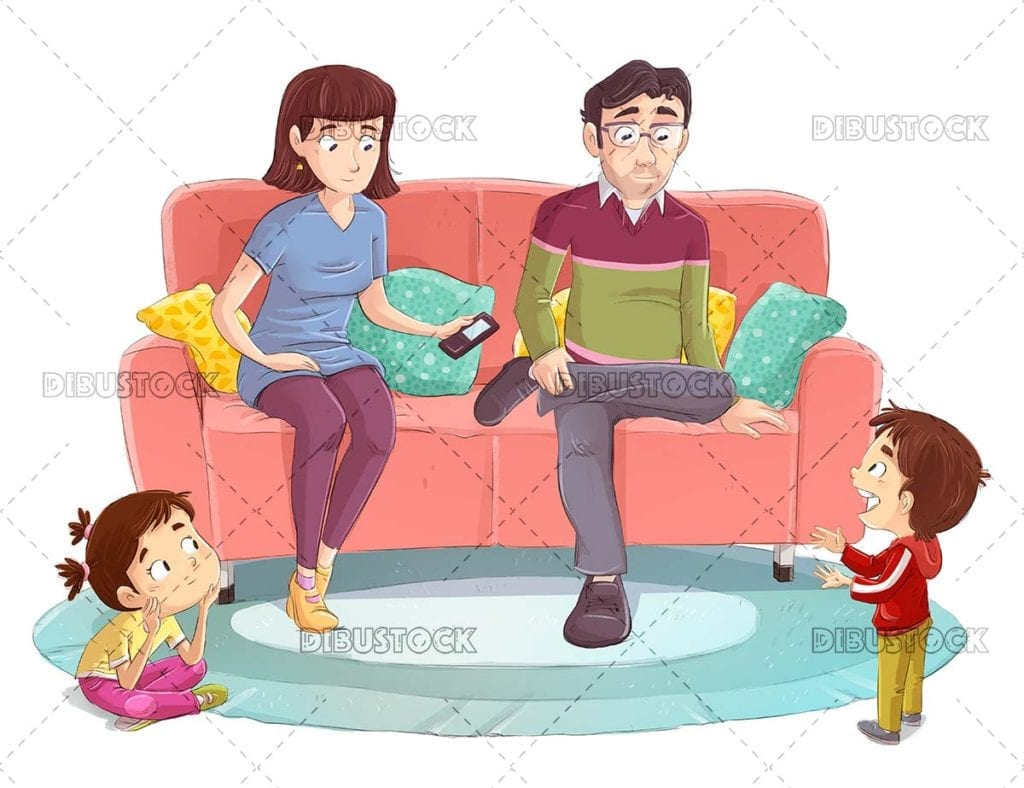 Parents and children talking on the couch