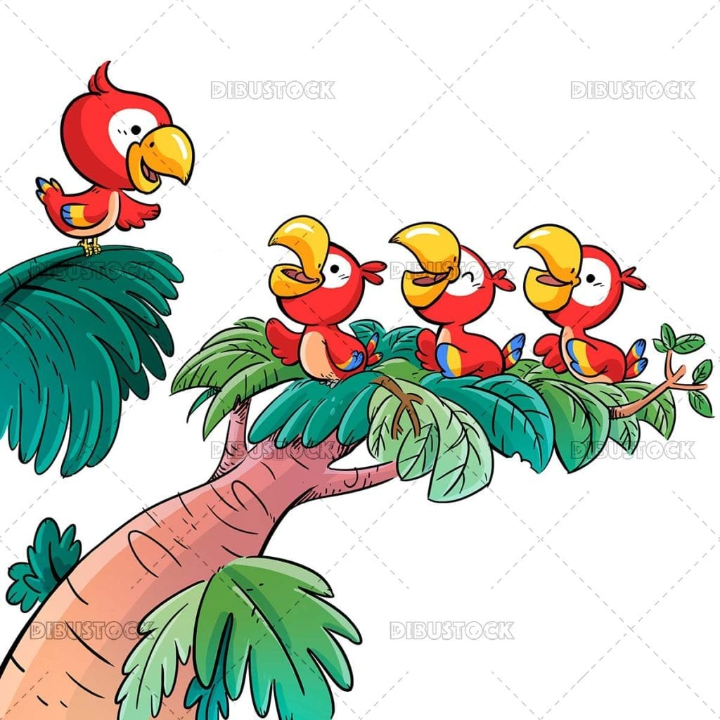Small red parrots