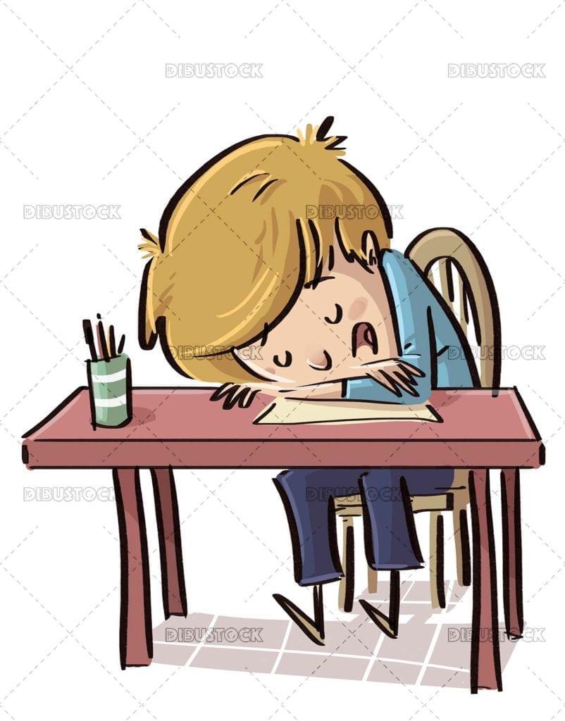 Student boy asleep in class