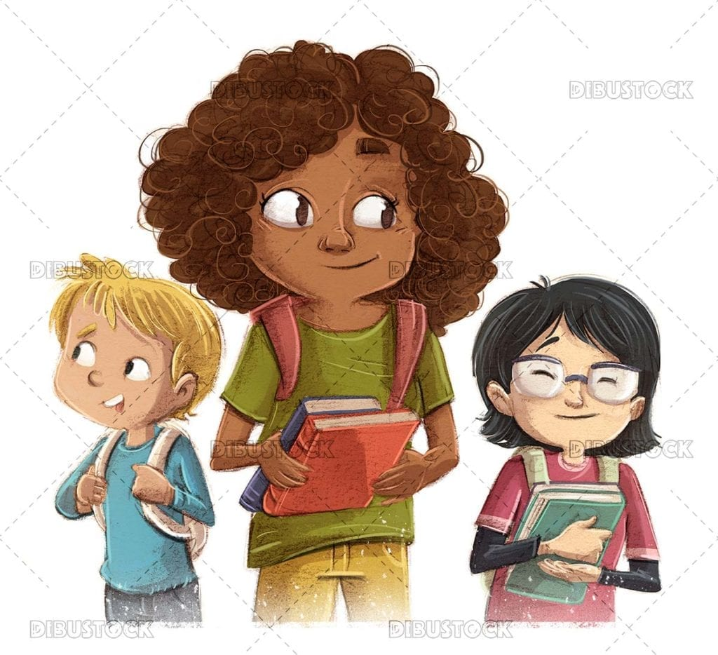 Student children of different ethnicities with book