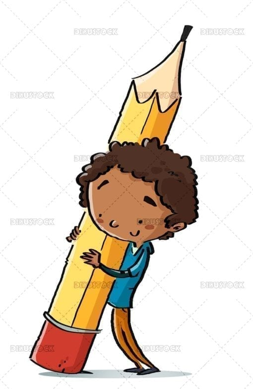 African American boy with giant pencil
