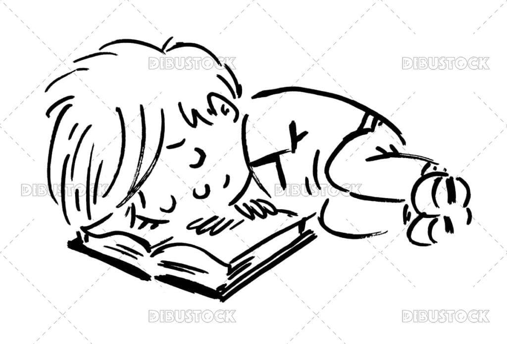Boy sleeping with book happy online