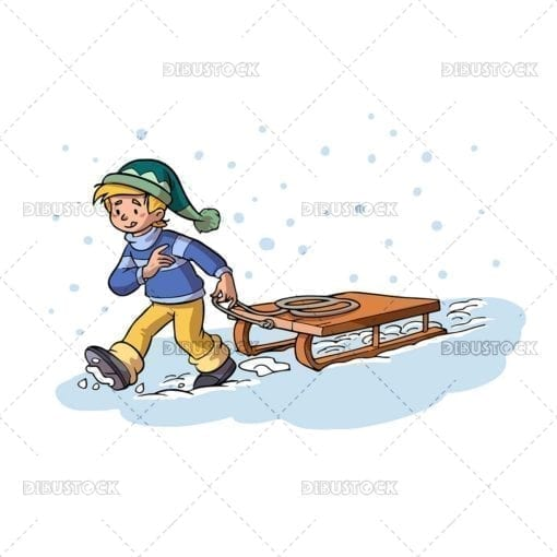 Boy with a sled