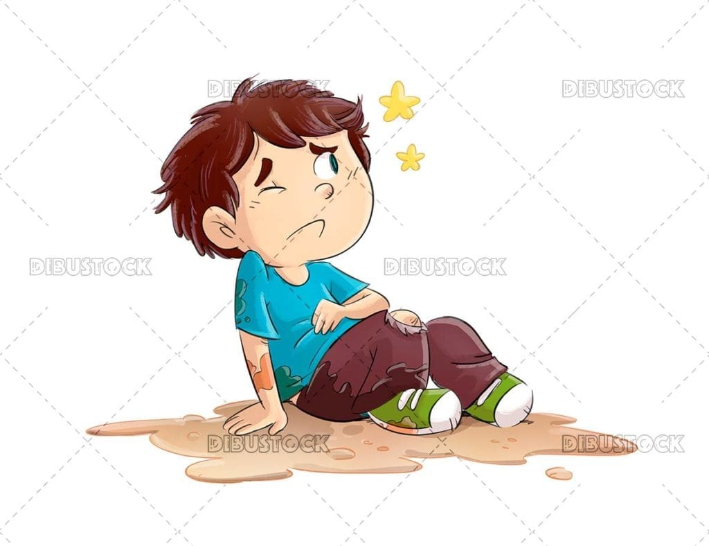 Child who has fallen and been hurt