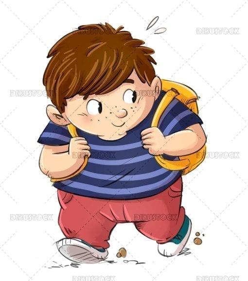 Chubby boy walking to school