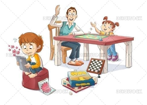 Confined family playing board games