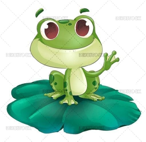 Fun frog on top of water lily