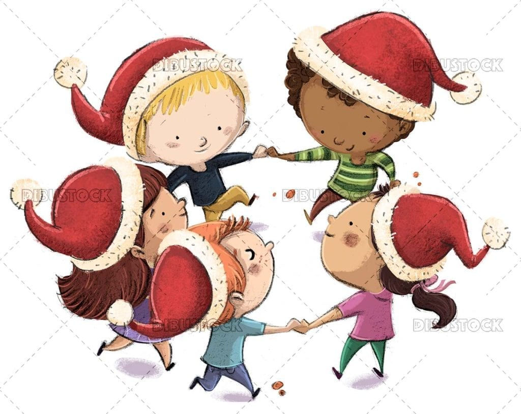Group of children with christmas hats