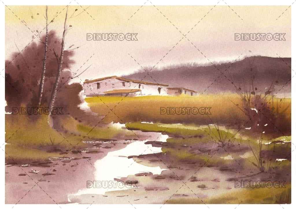 Landscape with house and river in watercolor