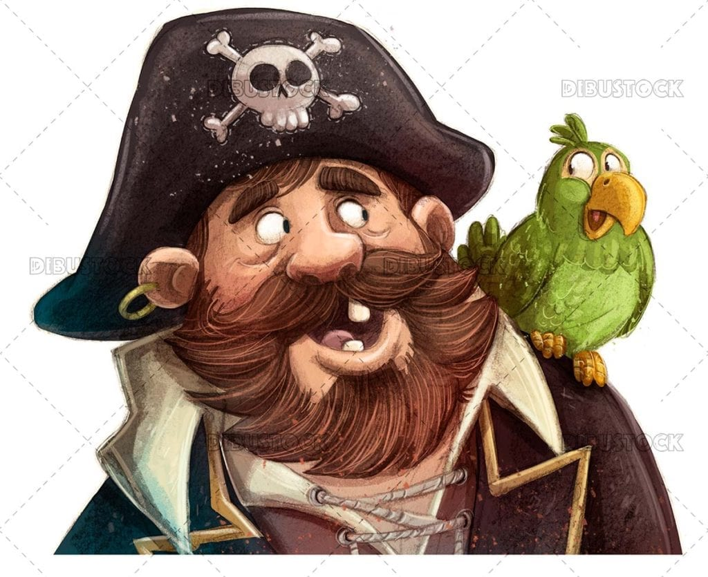 Pirate captain face with parrot