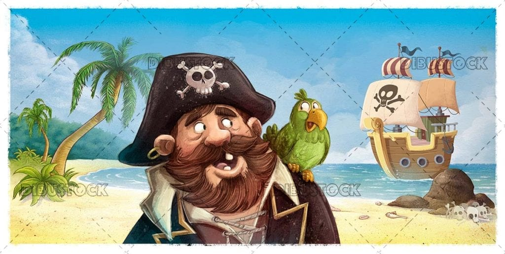 Pirate with parrot on an island with ship