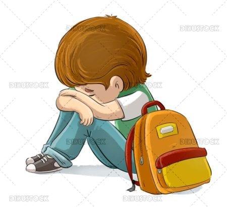 Sad child victim of bullying