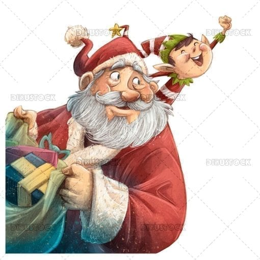 Santa Claus at christmas with elf and gifts