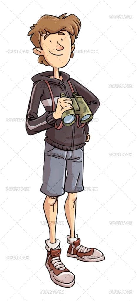 Teen boy with binoculars