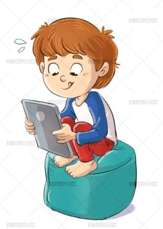 Boy sitting playing with tablet