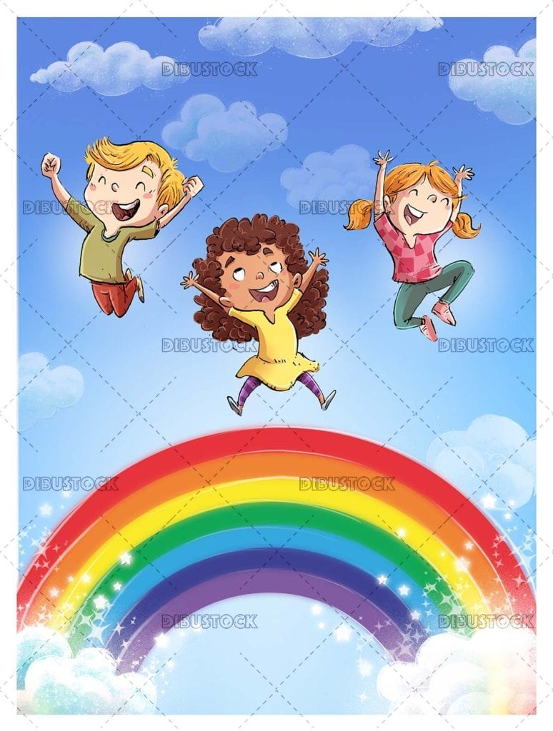 Children jumping with rainbow