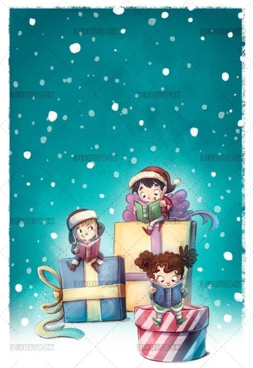 Children with gift books at christmas