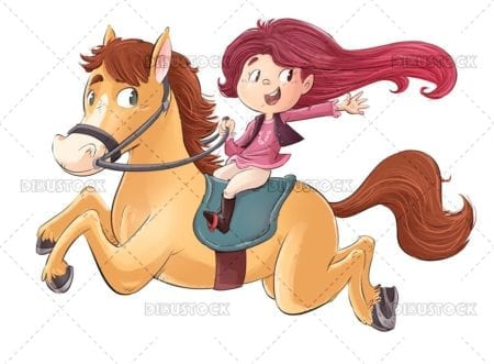 Girl running with horse