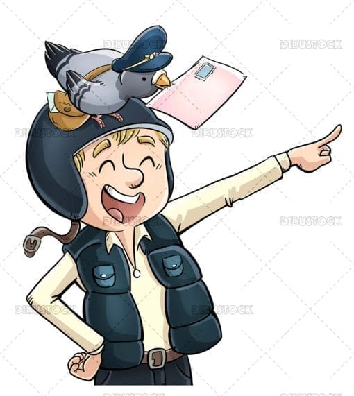 Messenger with carrier pigeon
