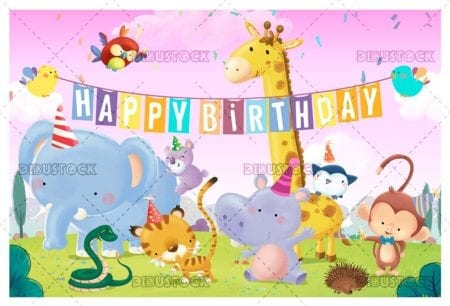 Birthday greetings in the field with animals