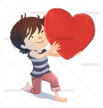 Boy in love with heart in hand