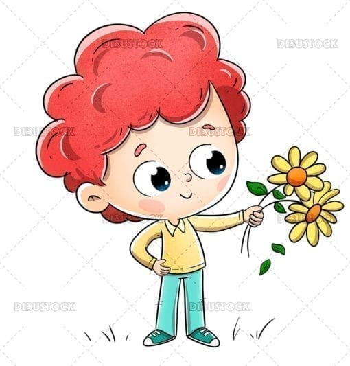 Boy with flowers giving them to someone
