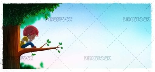 Child crying on the branch of a tree