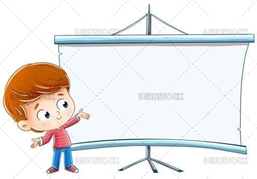 Child showing something on a blackboard