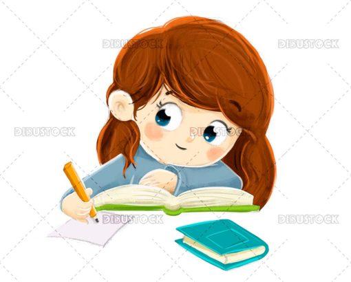 Girl writing while thinking something